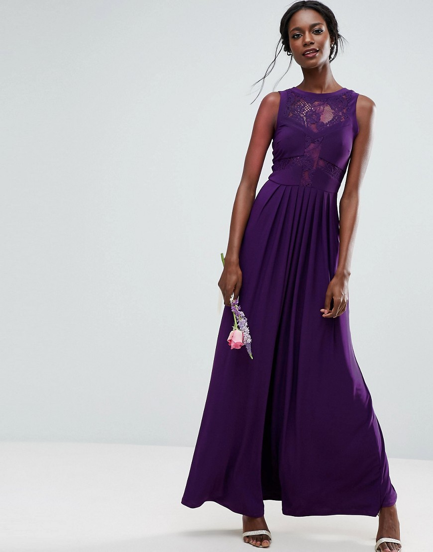 ASOS WEDDING Lace Jersey Pleated Maxi Dress - Aubergine