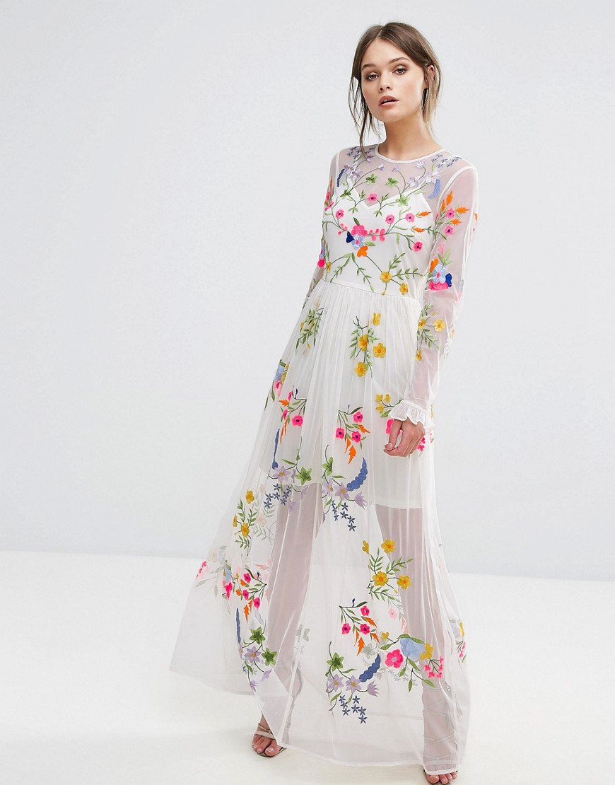 Frock And Frill Embroidered Maxi Dress With Tie Waist