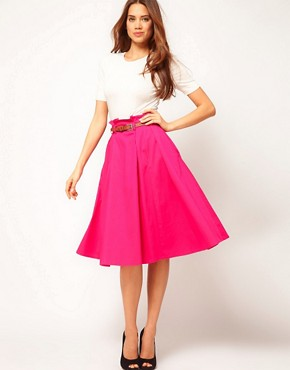 Image 1 ofASOS Belted Full Midi Skirt