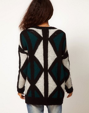 Image 2 ofASOS Fluffy Patterned Cardigan In Mohair