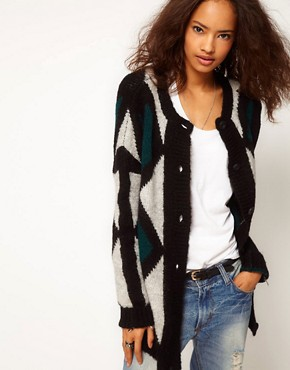Image 1 ofASOS Fluffy Patterned Cardigan In Mohair