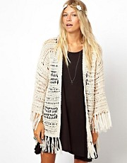 ASOS Kimono Cardigan In Crochet With Fringing