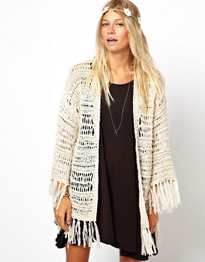 Image 1 ofASOS Kimono Cardigan In Crochet With Fringing