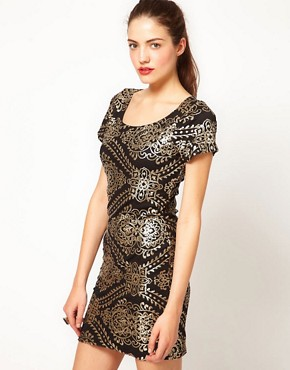 Image 1 ofVero Moda Baroque Sequin Embellished Mini Dress