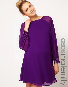 Image 1 ofASOS Maternity Swing Dress With Jewelled Cuffs