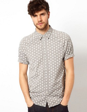 Image 1 ofASOS Chambray Shirt With Polka Dots