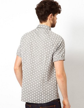 Image 2 ofASOS Chambray Shirt With Polka Dots
