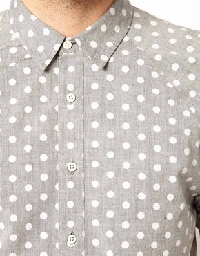Image 3 ofASOS Chambray Shirt With Polka Dots