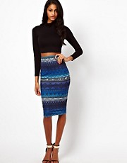 ASOS Pencil Skirt in Aztec Ombre Print