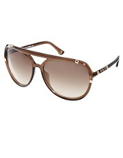 Michael Kors Brown &amp; Gold Aviator Sunglasses