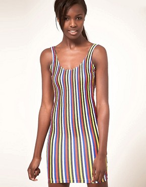 Image 1 ofAmerican Apparel Nylon Stripe Mini Dress