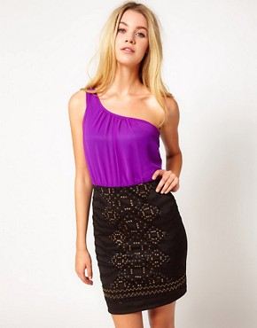 Image 1 ofLiquorish One Shoulder Dress With Embellished Skirt