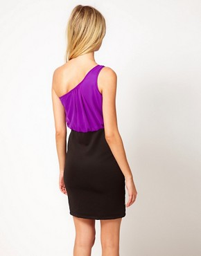 Image 2 ofLiquorish One Shoulder Dress With Embellished Skirt