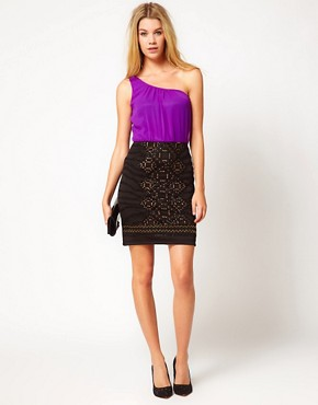 Image 4 ofLiquorish One Shoulder Dress With Embellished Skirt