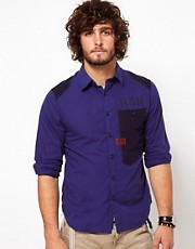 G Star Shirt Aero Courier Contrast Oversized Pocket