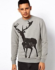 Vacant Sweat With Stag Print