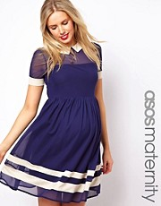 ASOS Maternity Skater Dress In Mesh With Contrast Detail and Short Sleeves