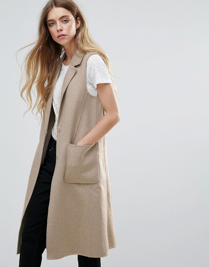 Selected Alice Wool Blend Tailored Waistcoat - Dark camel