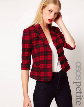 Image 1 ofASOS PETITE Exclusive Cropped Blazer In Check