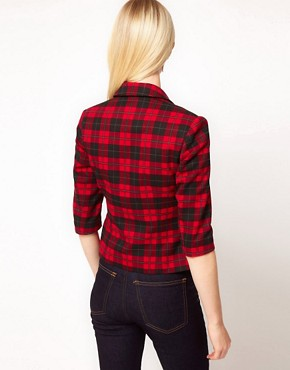 Image 2 ofASOS PETITE Exclusive Cropped Blazer In Check