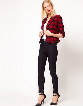 Image 4 ofASOS PETITE Exclusive Cropped Blazer In Check