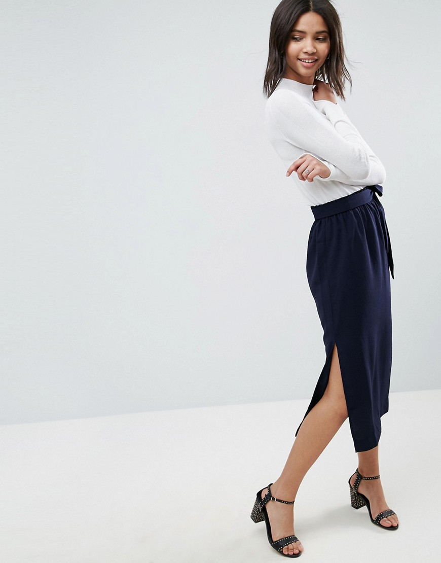 ASOS Paper Bag Waist Split Side Midi Pencil Skirt - Navy