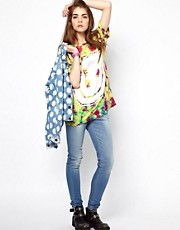 House of Holland - T-shirt oversize tie-dye con smiley stampato
