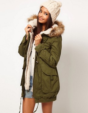 Image 1 ofASOS Fur Hooded Detachable Lined Parka