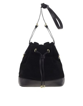 Image 1 ofASOS Leather And Suede Drawstring Bag