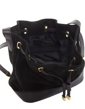 Image 2 ofASOS Leather And Suede Drawstring Bag