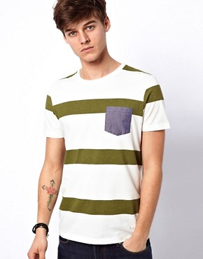 Image 1 ofASOS Stripe T-Shirt With Oxford Pocket