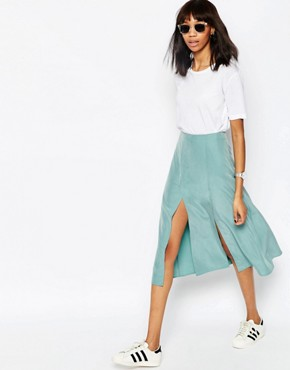 ASOS Soft Midi Skirt with Splices