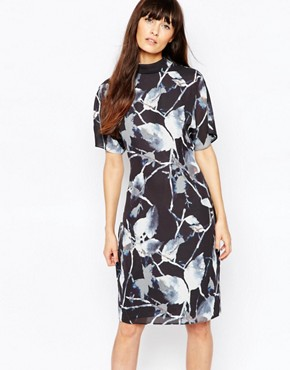 Reiss Drape Dress in Midnight Print