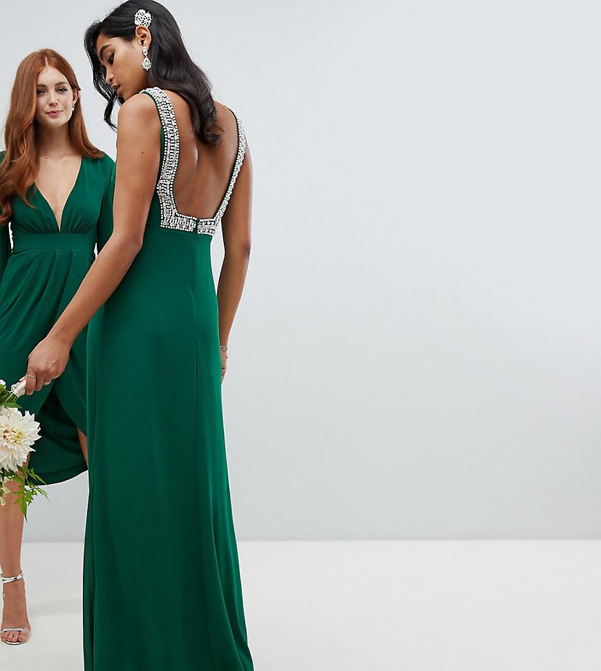 Imagen principal de producto de Vestido largo de dama de honor con escote cuadrado en la espalda y adornos en verde bosque de TFNC - TFNC