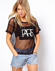 ASOS - Paris - T-shirt in tessuto a rete con stampa
