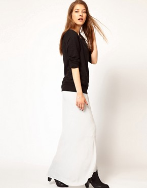 Image 1 ofJames Perse Bias Cut Midi Skirt with Fishtail Detail
