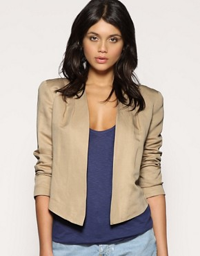 Image 1 ofASOS Tailored Cropped Pleat Shoulder Blazer