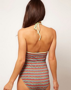 Image 2 ofASOS Global Stripe Tie Waist Swimsuit