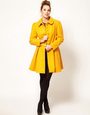 Image 4 ofASOS CURVE Exclusive Button Swing Coat
