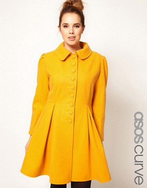 Image 1 ofASOS CURVE Exclusive Button Swing Coat