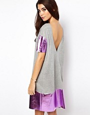 ASOS Holographic Backless T-Shirt Dress