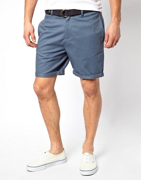 ASOS Chino Shorts In Twill With Belt