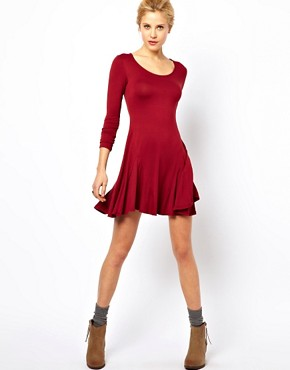 Image 4 ofASOS PETITE Exclusive Swing Dress With Full Skirt