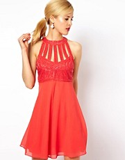 ASOS Skater Dress With Embellishment and Cage Detail