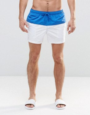 ASOS Short Length Swim Shorts In White With Blue Panel