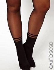 ASOS CURVE Tights With 2 Stripe Mock Ankle Sock