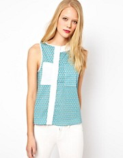 ASOS Vest With Asymmetric Placket In Geo Print