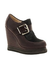 Senso Ilena Burgundy Strap Wedge Shoes