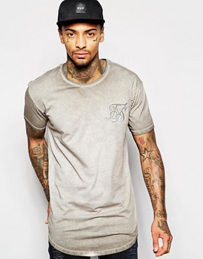 SikSilk Oil Wash T-Shirt With Dropped Hem