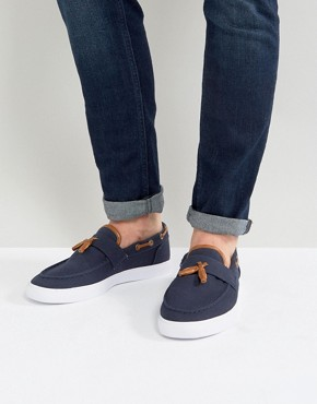 ASOS Slip On Plimsolls In Navy Canvas With Tassel